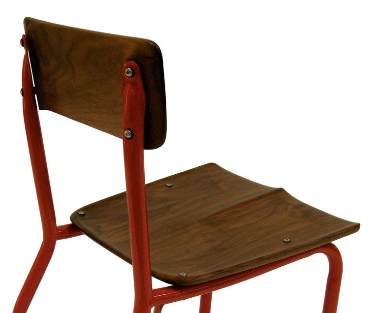 Hardwood Contemporary American School House Side Chair, Walnut, Powder Coated, in Stock For Sale