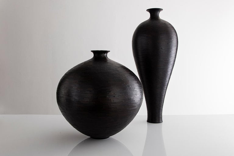 "Modern Large 25""dia STACKED Charred Round Wooden Vase by Richard Haining, Available Now For Sale"