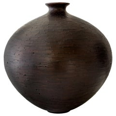 "Large 25""dia STACKED Charred Round Wooden Vase by Richard Haining, Available Now"