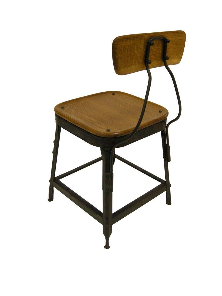 Modern Contemporary American Steel Side Chair, Oak, Blackened Steel, in Stock For Sale