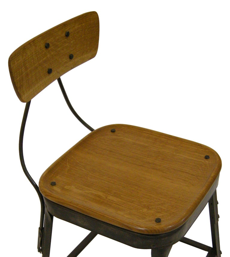 Carved Contemporary American Steel Side Chair, Oak, Blackened Steel, in Stock For Sale