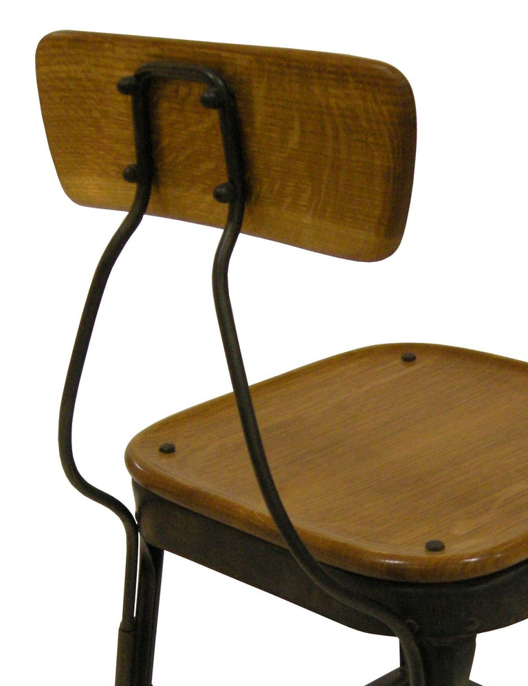 Contemporary American Steel Side Chair, Oak, Blackened Steel, in Stock In Excellent Condition For Sale In Brooklyn, NY