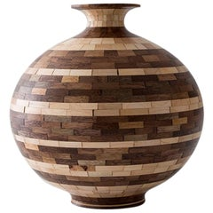 Contemporary STACKED Walnut and Maple Striped Vase by Richard Haining, in Stock