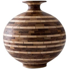 STACKED Walnut and Maple Striped Vase by Richard Haining, Available Now