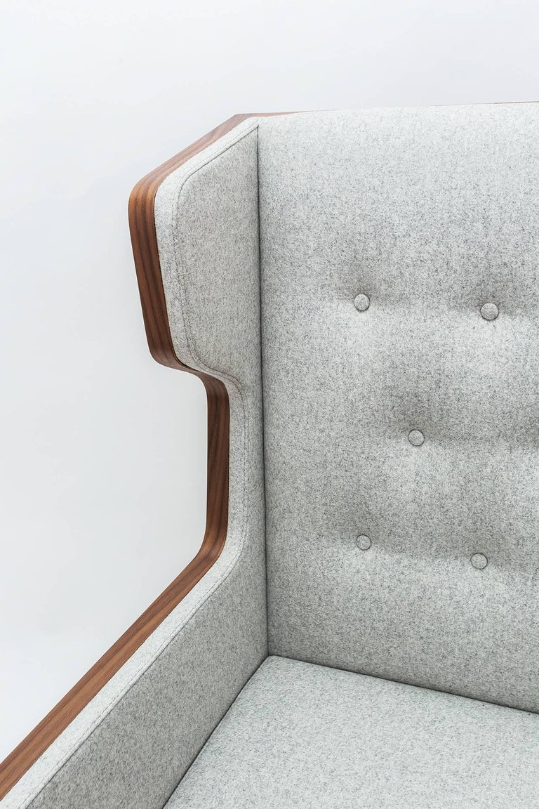 Arts and Crafts Contemporary American Walnut Felt Gray Armchair For Sale