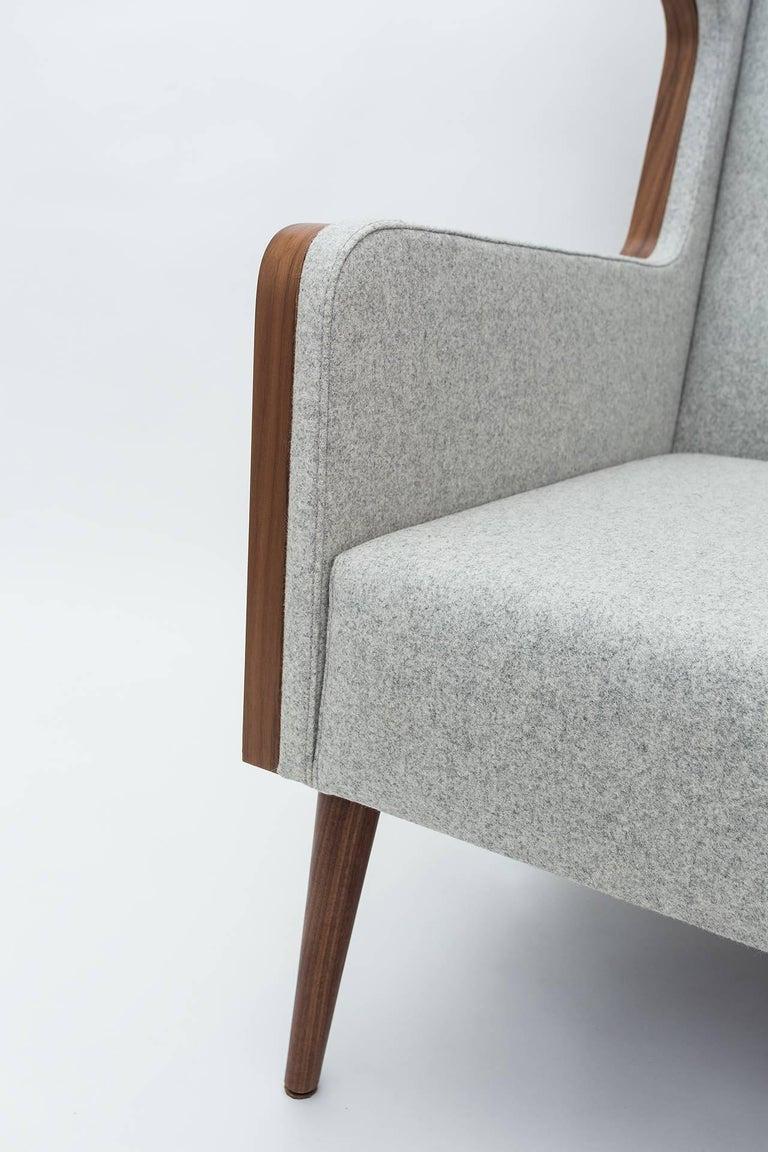 Turkish Contemporary American Walnut Felt Gray Armchair For Sale