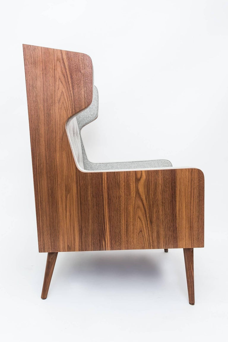 Woodwork Contemporary American Walnut Felt Gray Armchair For Sale