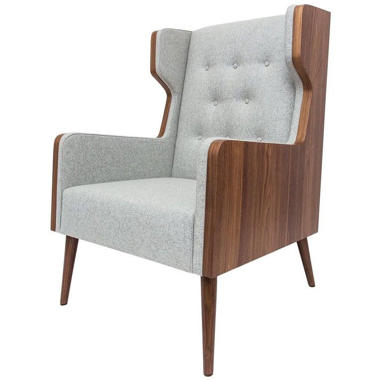 Contemporary American Walnut Felt Gray Armchair For Sale