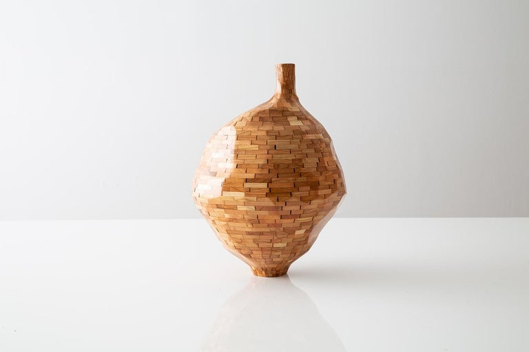 Carved Contemporary STACKED Faceted Short Cherry Vase by Richard Haining, in Stock For Sale