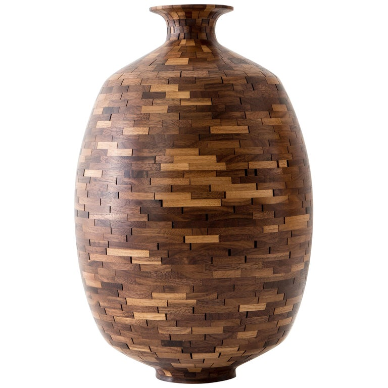 Contemporary STACKED Walnut Jug by Richard Haining, Wooden Vase, in Stock For Sale