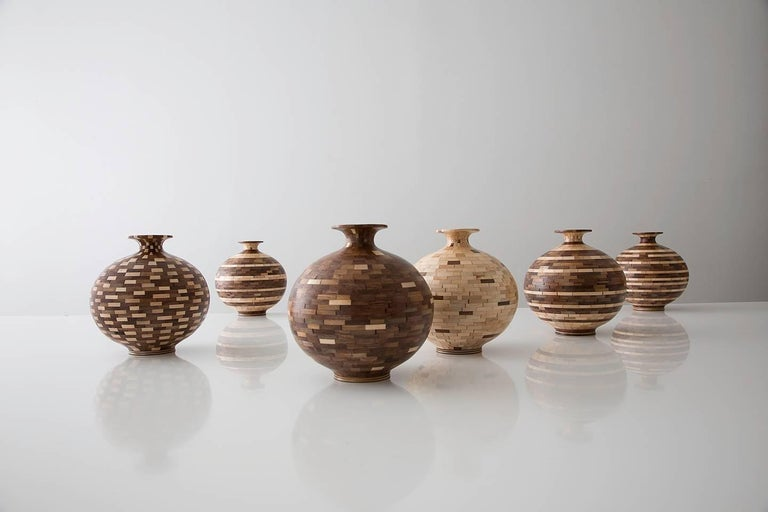 Modern STACKED Walnut and Maple Patterned Vase by Richard Haining, Available Now For Sale