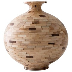 Contemporary STACKED Walnut and Maple Pattern Vase by Richard Haining, in Stock