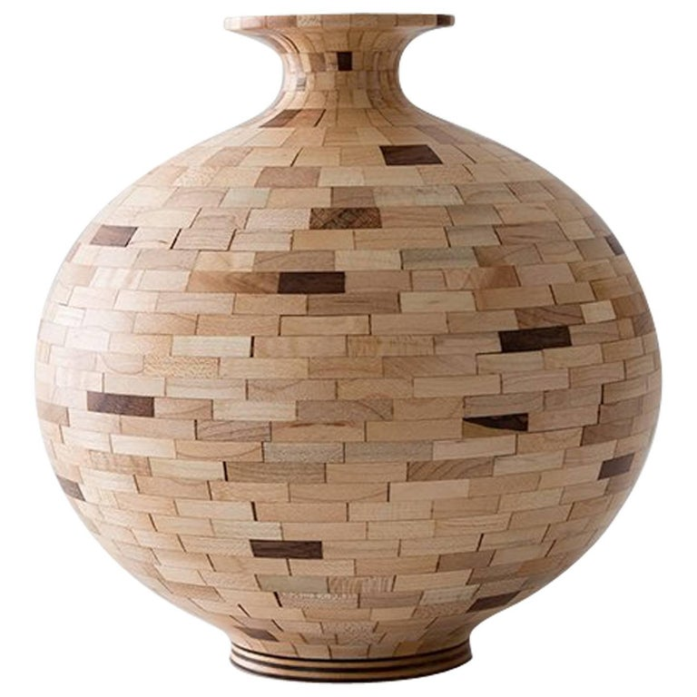 STACKED Walnut and Maple Patterned Vase by Richard Haining, Available Now For Sale