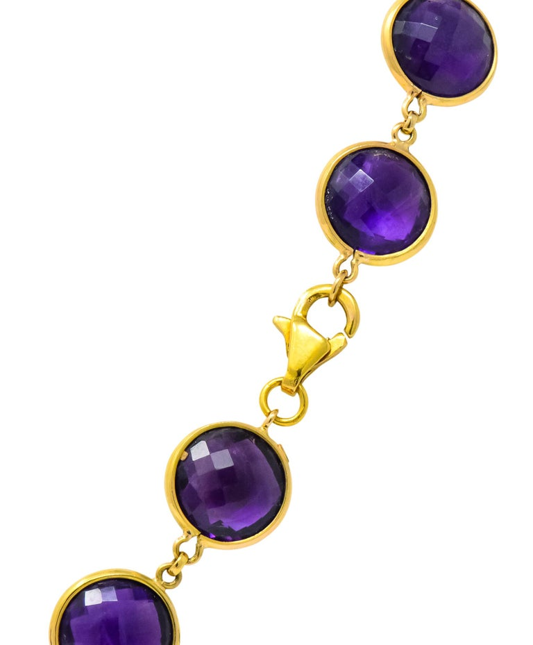 Contemporary Amethyst 18 Karat Yellow Gold Long Necklace In Excellent Condition For Sale In Philadelphia, PA