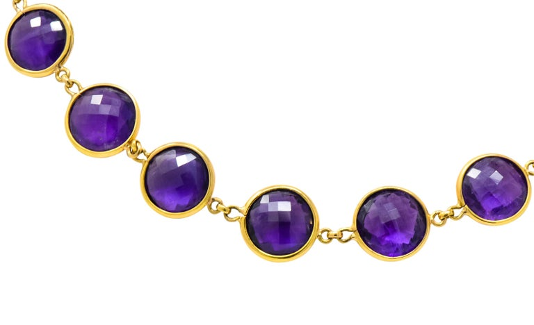 Women's or Men's Contemporary Amethyst 18 Karat Yellow Gold Long Necklace For Sale