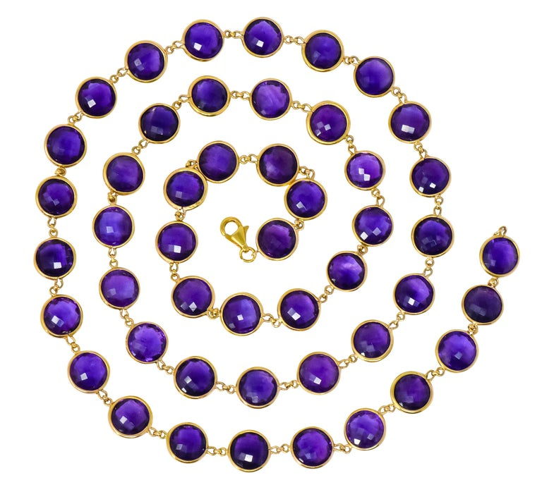 Contemporary Amethyst 18 Karat Yellow Gold Long Necklace For Sale 1
