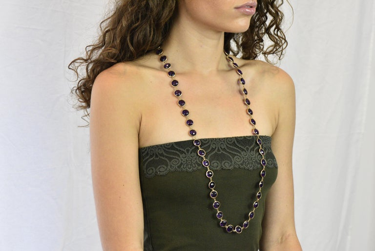 Contemporary Amethyst 18 Karat Yellow Gold Long Necklace For Sale 2