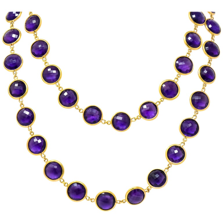 Contemporary Amethyst 18 Karat Yellow Gold Long Necklace For Sale