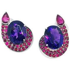 Contemporary Amethyst and Rubi Clip Earrings in 19.2 Karat White Gold