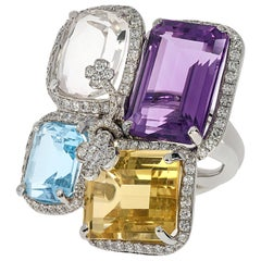 Contemporary Amethyst, Kunzite, Topaz, Citrine and Diamond Ring in White Gold