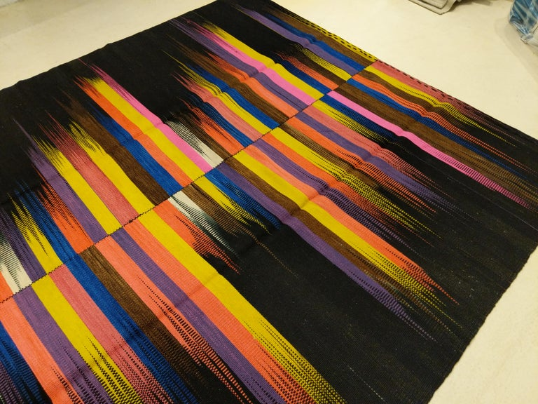 Contemporary Anatolian Kilim Rug with Polychrome Flame Pattern on a Black Ground For Sale 4