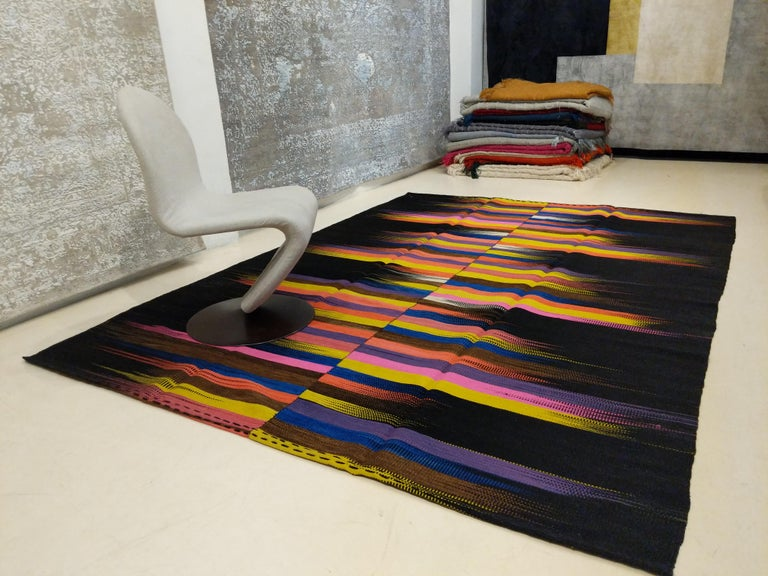 Wool Contemporary Anatolian Kilim Rug with Polychrome Flame Pattern on a Black Ground For Sale