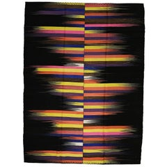 Contemporary Anatolian Kilim Rug with Polychrome Flame Pattern on a Black Ground