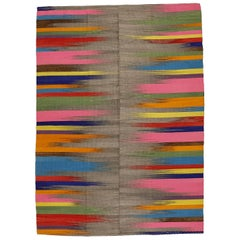 Contemporary Anatolian Kilim Rug with Polychrome Flame Pattern on Grey Ground
