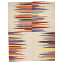 Contemporary Anatolian Kilim Rug with Polychrome Flame Pattern on Ivory Ground