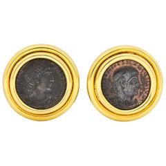 Contemporary Ancient Roman Coin 18 Karat Gold Earrings Constantino