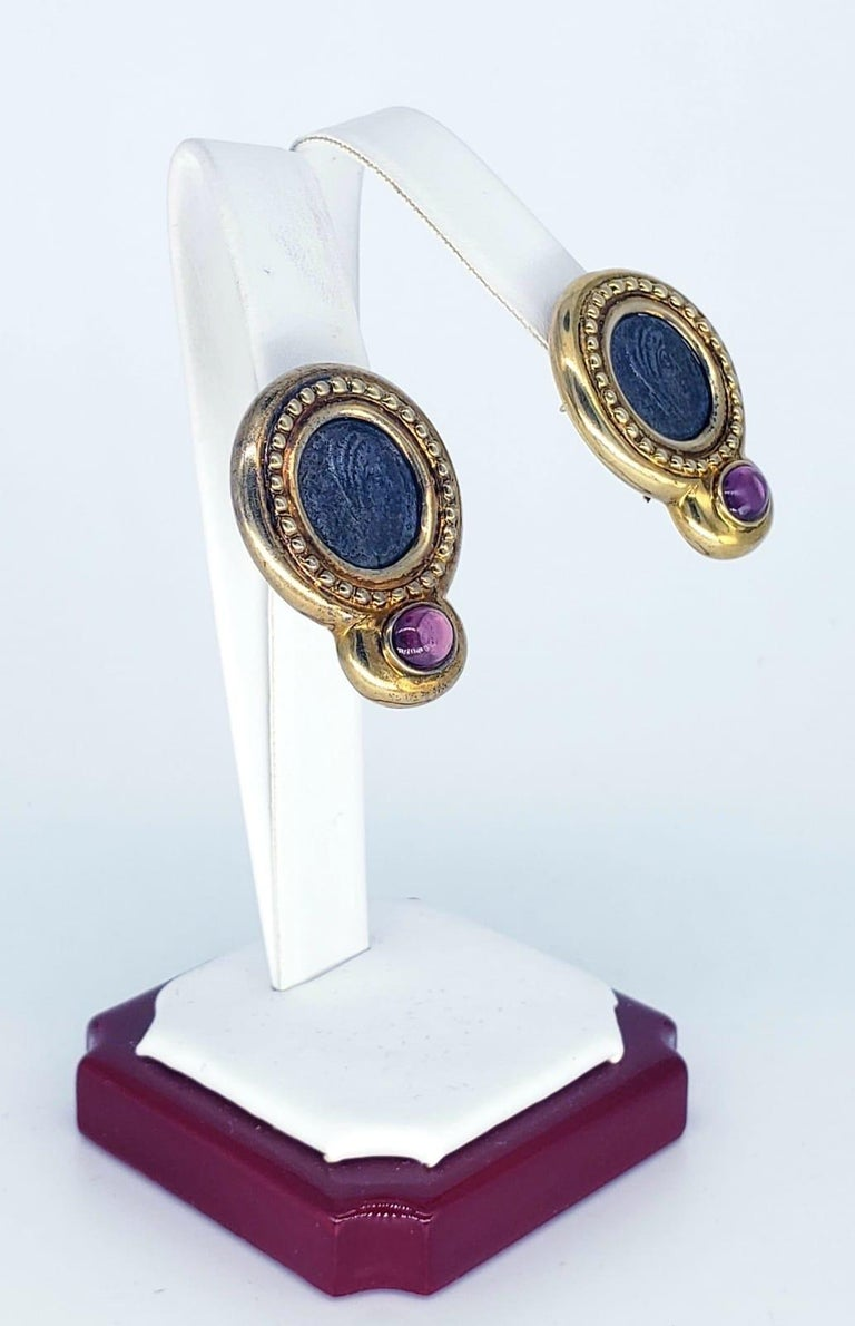 Classical Roman Contemporary Ancient Roman Coin Sapphire Cabochon Earrings For Sale