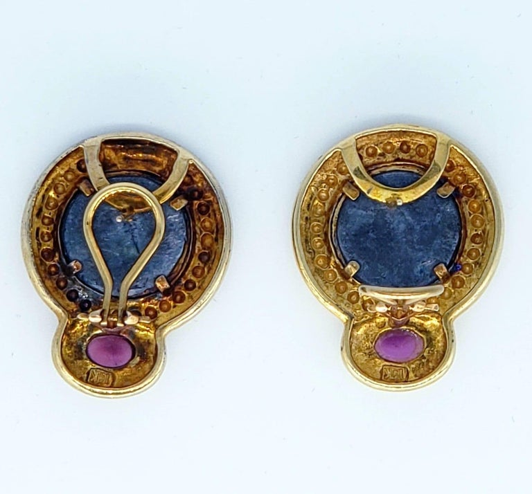 Contemporary Ancient Roman Coin Sapphire Cabochon Earrings For Sale 1