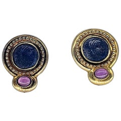 Contemporary Ancient Roman Coin Sapphire Cabochon Earrings