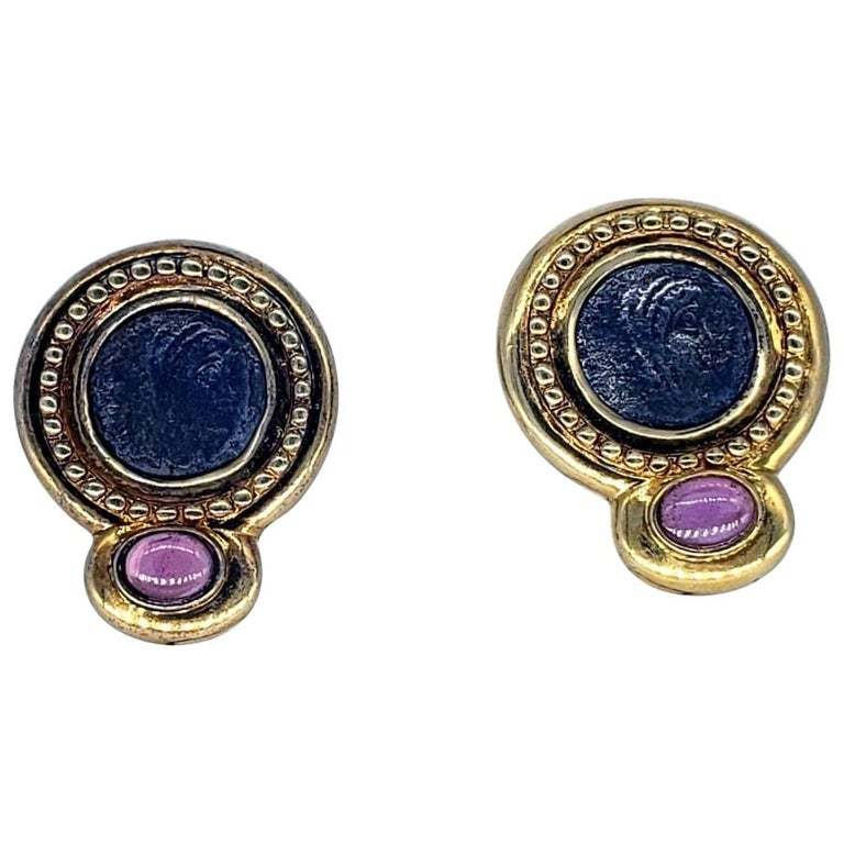 Contemporary Ancient Roman Coin Sapphire Cabochon Earrings For Sale