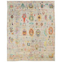 Contemporary and Colorful Handmade Turkish Souf Oushak Large Room Size Carpet