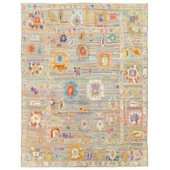 Contemporary and Colorful Handmade Turkish Souf Oushak Room Size Carpet