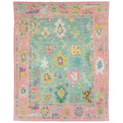 Contemporary and Colorful Turkish Souf Oushak Room Size Carpet in Pink and Green