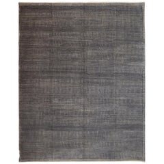 Contemporary and Minimalist Wool Carpet in Light and Dark Gray