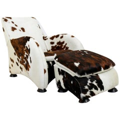 Contemporary Animal Cow Hide Lounge Chair and Ottoman Stone International
