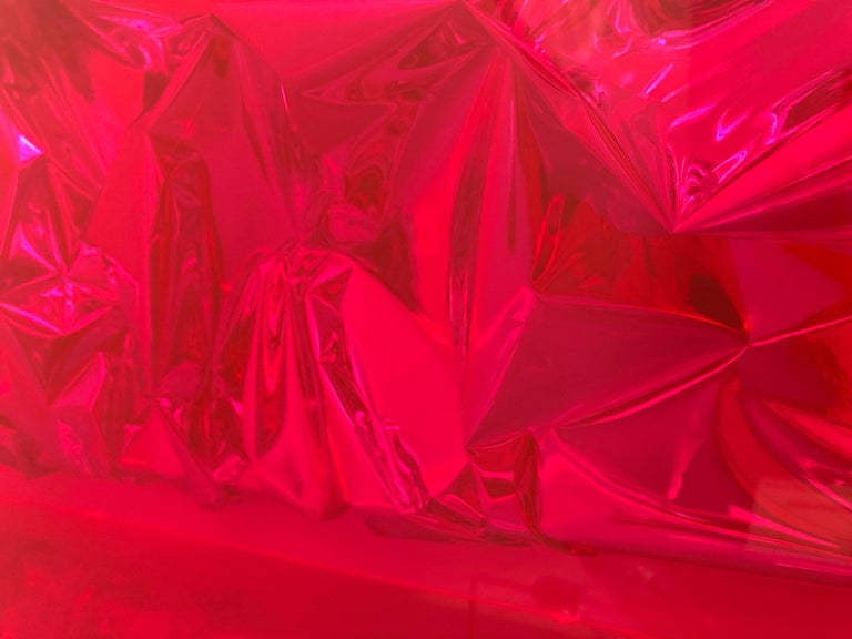 Contemporary Anselm Reyle Installation of Pink Foil And Acrylic in Glass Box For Sale 8