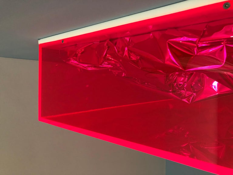 Contemporary Anselm Reyle Installation of Pink Foil And Acrylic in Glass Box For Sale 10
