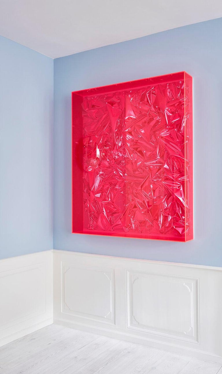 Anselm Reyle 2007  Untitled. Foil and acrylic on canvas in acrylic glass box.  About German artist Anselm Reyle (b. 1970) studied at the Staatliche Akademie der Bildenden Künste, Stuttgart and at the Staatliche Akademie der Bildenden Künste,