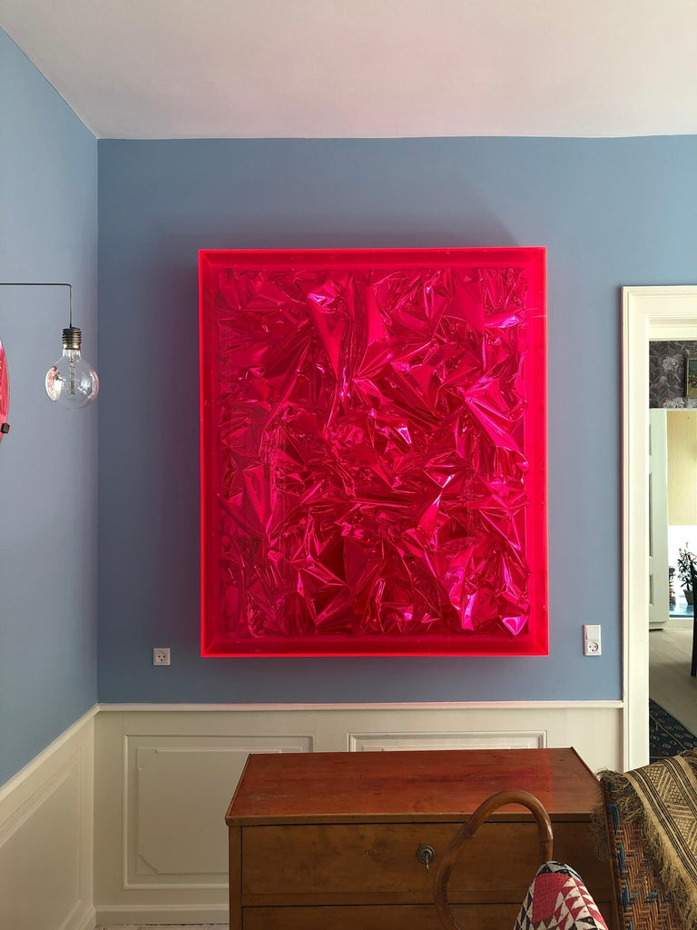 German Contemporary Anselm Reyle Installation of Pink Foil And Acrylic in Glass Box For Sale