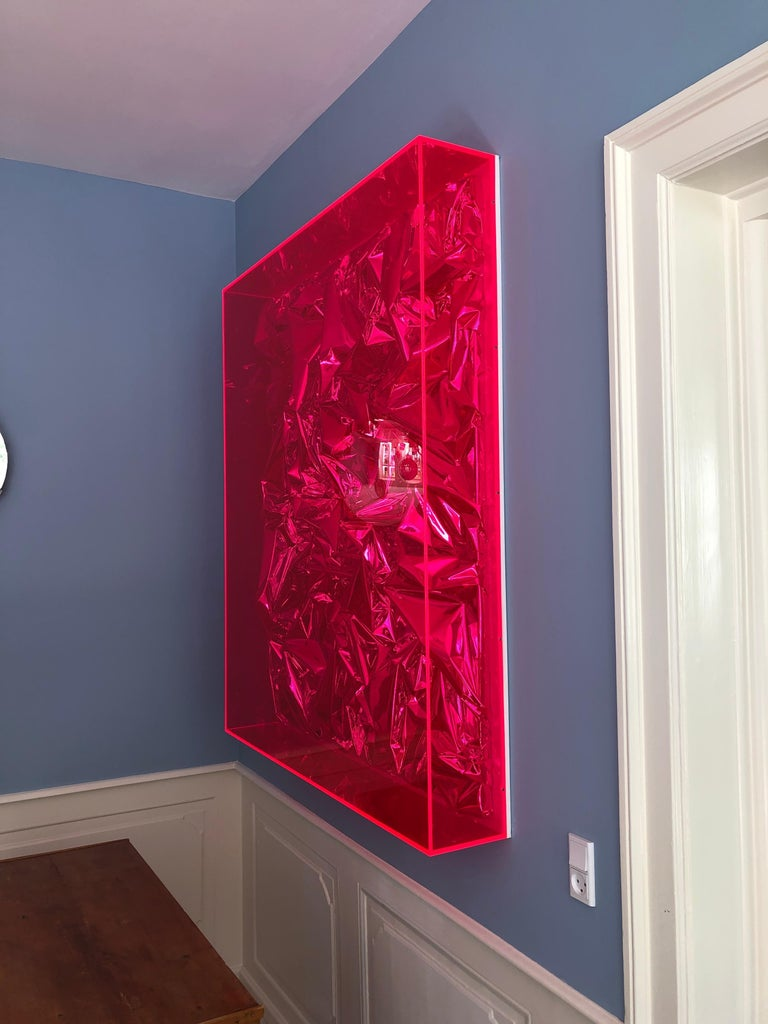 Contemporary Anselm Reyle Installation of Pink Foil And Acrylic in Glass Box In Good Condition For Sale In Copenhagen K, DK