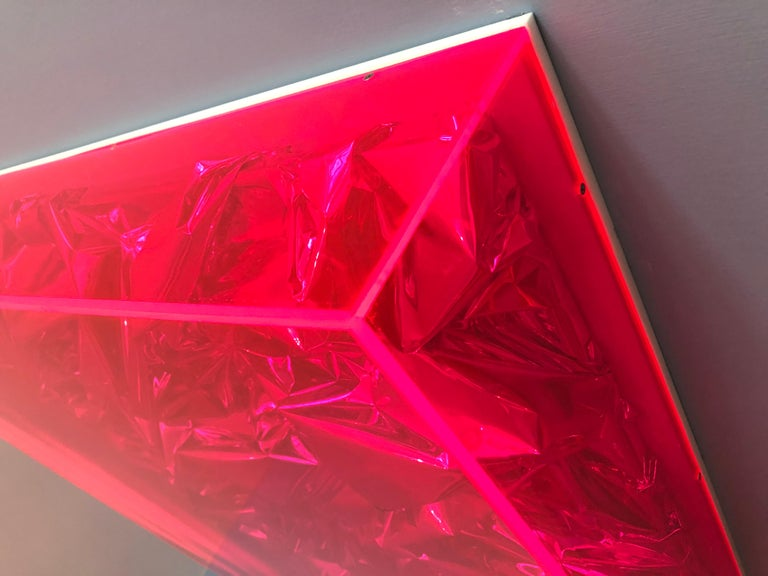 Contemporary Anselm Reyle Installation of Pink Foil And Acrylic in Glass Box For Sale 1