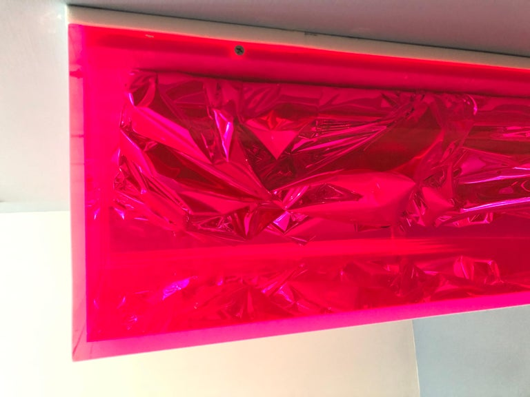 Contemporary Anselm Reyle Installation of Pink Foil And Acrylic in Glass Box For Sale 2