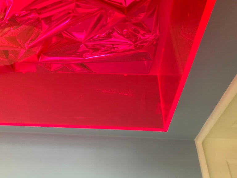 Contemporary Anselm Reyle Installation of Pink Foil And Acrylic in Glass Box For Sale 4