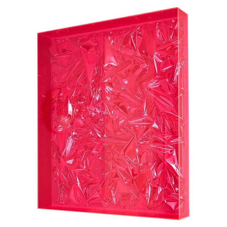 Contemporary Anselm Reyle Installation of Pink Foil And Acrylic in Glass Box For Sale