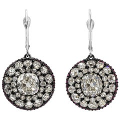 Contemporary Antique Old Mine Cut Diamond Halo Drop Earrings