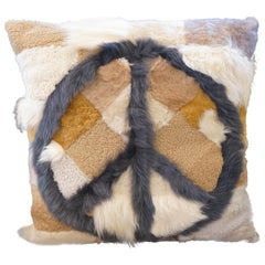 Contemporary Anvogg Shearling Peace Sign Pillow in Nude Apache